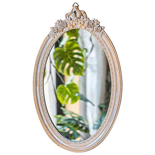 ZXCV Franse vintage shabby muur spiegel, decoratieve installeerbare huis selectie spiegel, antieke barok stijl grootte grote badkamer (antieke zilver)