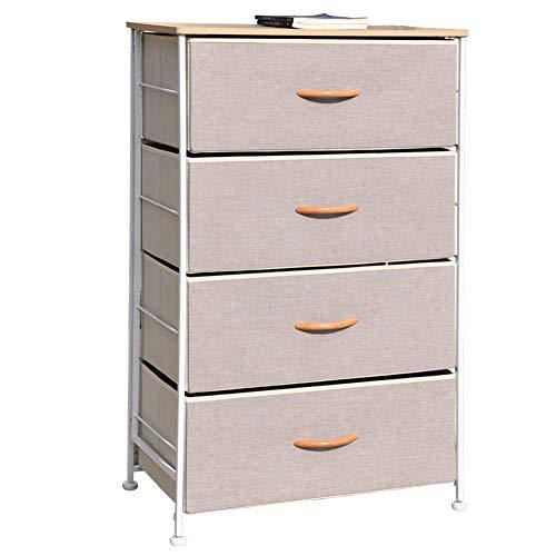 Vertical 4 Drawer Storage Dresser Tower, Flash Assembly Furniture Organizer Unit for Bedroom, Hallway, Entryway (Tan)