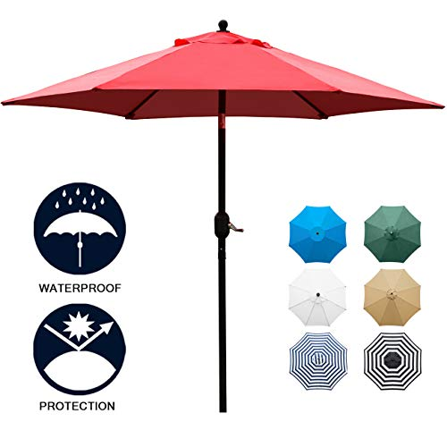 Sunnyglade 7.5' Patio Umbrella Outdoor Table Market Umbrella with Push Button Tilt/Crank, 6 Ribs (Red)