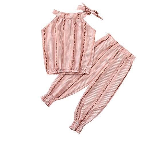 Voberry- (2Y-8Y) Sling sans manches pour enfants qui fuit l'épaule volants feuille impression pantalon haut rayé deux pièces