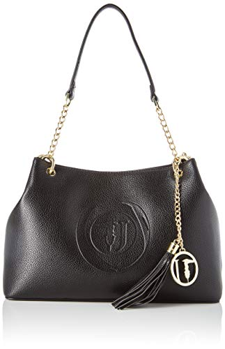 Trussardi Jeans Faith Hobo MD Tumbled Ecoleath, Borsa a Spalla Donna, Nero (Black), 22x11x32 cm (W x H x L)