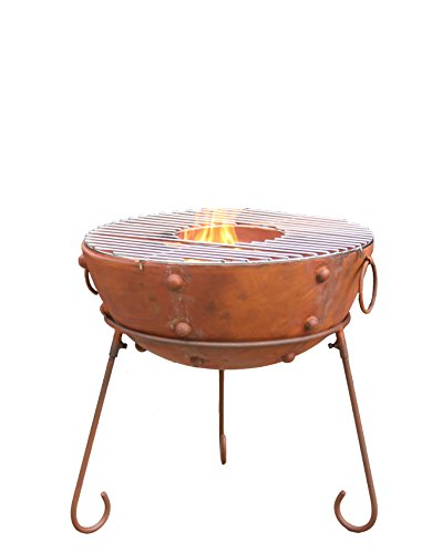 Gardeco THEYDON-50 Steel Fire Pit, Rust, 50 x 50 x 51 cm