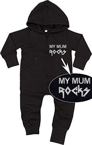 Racker-n-Roll My Mum Rocks Silver Baby All-in-one Sweatsuit Black