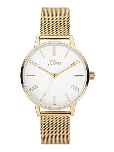 s.Oliver Damen Analoger Quarz Uhr mit Edelstahl Armband SO-3895-MQ, IP Gold