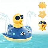 Herefun Baby Badespielzeug Badewannenspielzeug, Schwimmende Spielzeug Pool Spielzeug mit Schraubenzieher, Wasserspielzeug Geschenk für 1 2 3 4 5 Jahre Kleinkinder Baby (Fisch-Blau)
