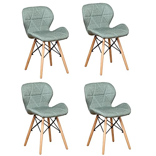 4er Set Esszimmerstühle, mit modernem ergonomischem Design und Beinen aus natürlichem Buchenholz für Esszimmer Wohnzimmer Schlafzimmer Küche, Büro,Balkon, Innenhof usw,Grün