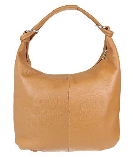 Girly Handbags Hobo Italian Wildleder echtes Leder-Umhängetasche (hellbraunes Leder)