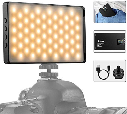 LED Videoleuchte Mini Video licht Aluminium USB Wiederaufladbarem Kamera licht Dimmbar 3200-5600K 120 LED Panel Compatible für Sony/Canon/Nikon DSLR Studio Fotografie, YouTube,Smartphones,Black