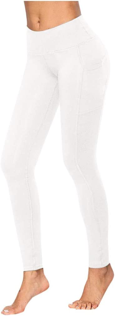 High Waist Yoga Pants with Pockets, Tummy Control Workout Leggings, 4 Way Stretch Yoga Leggings