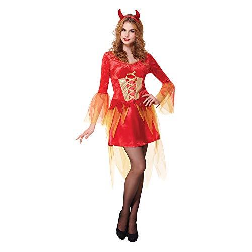 Bristol Novelty Damen Teufelinnen-Kostüm (Einheitsgröße) (Rot/Orange)
