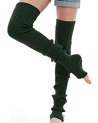 Nanxson Damen Beinwärmer Gestrickt Lange Beinstulpen Stulpen Strumpf für Ballett Fitness Yoga TTW0056 (L, dunkel grün