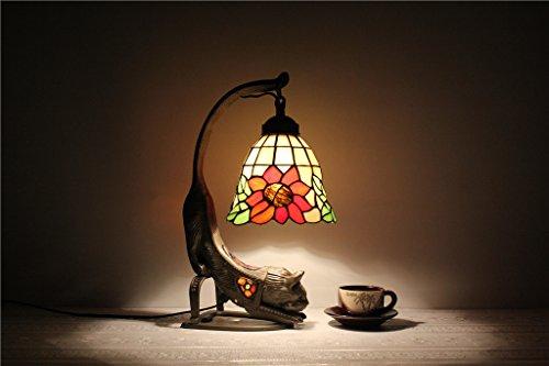HOME-mesa lámpara de mesa de girasoles lámpara de 7 pulgadas Europea creativa Animales Arte Tiffany gato estudio Cama infantil Escritorio