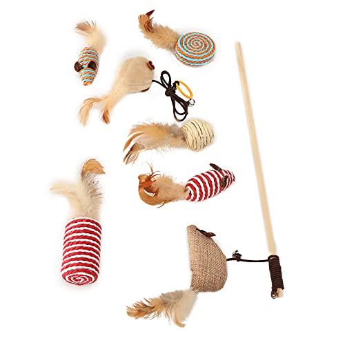 KASD Katzen-Teaser, Leinen-Qualität Leinen Verschiedene Arten Katzen-Zauberstab für Kätzchen Interaktives Spielzeug
