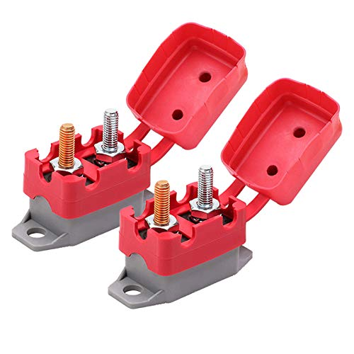 RKURCK 12//24V Stud Bolt Type 30A Automatic Reset Circuit Breaker with Red Cover