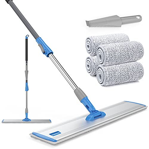 Microfiber Mop 18' Microfiber Floor Mop 4 Premium Mop Pads floor mop hardwood for Cleaning Hardwood and Floors Wet Mop Flat Mop Pads Wet or Dry Floor Cleaning