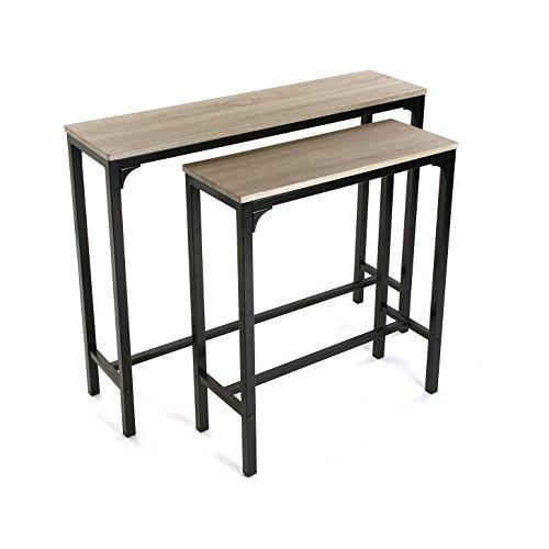 Versa Set 2 Mesas Mueble Recibidor Estrecho para la Entrada o el Pasillo Mesa Consola, Madera y Metal, Marron y Negro, 95x25x80 cm, 2 Unidades ⭐