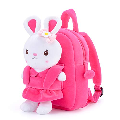 Metoo Easter Backpack Bunny Bags Kids - Borse a Tracolla Rosa in Peluche 3D con Coniglio Cartone Animato