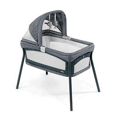 Chicco Lullago Nest Portable Bassinet, Travel Friendly Carry Bag, Removable and Machine-Washable Fabrics, Breathable Mesh Sides, Adjustable Canopy with Hanging Toys, Poetic