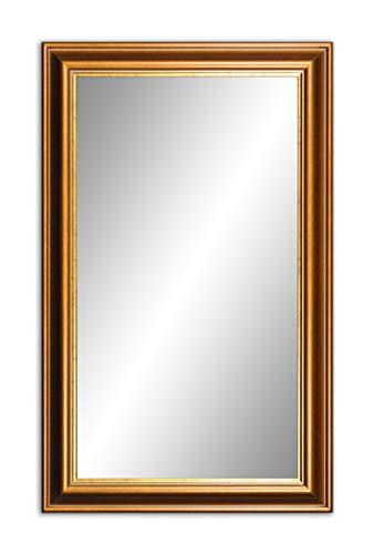60 x 40cm (64x44cm), Spiegel mit Rahmen, Badezimmerspiegel Antik, Alte Spiegel, Handgefertigte, Stabiler Rückwand, Rahmenleiste: 80/35 mm hoch, Rahmen Farbe: Gold