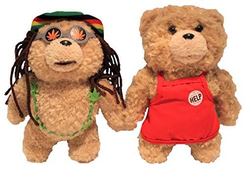 TED 20cm pluche figuren, set van 2 voor volwassenen, knuffelbeer teddybeer, verzamelobject voor fans (rode schort en grijs pak)