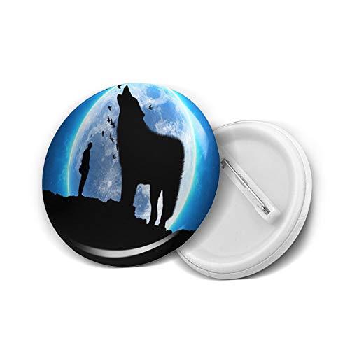 Pin de solapa con diseño de lobo bajo la luna llena, 5 unidades, M