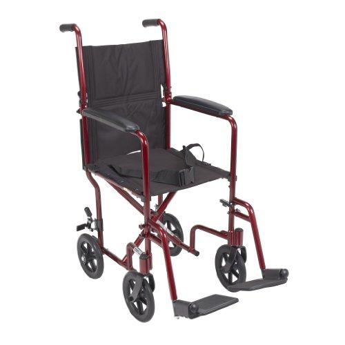 "Drive Medical Deluxe Lightweight Aluminum Transport Wheelchair, Red, 17"""