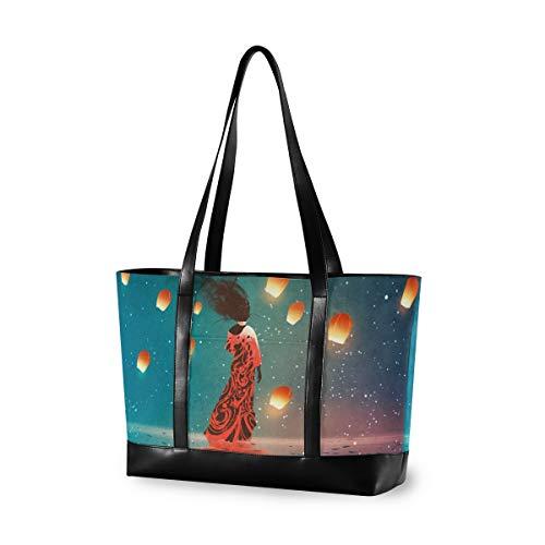 LZXO Laptop-Tasche, (15,6 Zoll), Ozean Kongming Laterne, Mädchen, Damen, große Schultertasche, Reißverschluss, leicht,Handtaschen
