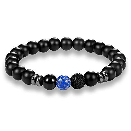 WDAIJY Pulsera De Hombre,Los Hombres Pulsera Abalorios De Piedra Natural Encanto Pulseras Hombres Vintage Azul Negro Mate El Budismo Mala Meditación Yoga Pulsera