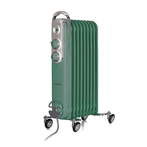 Klarstein Thermaxx Retroheat Ölradiator Elektroheizung, 2 x Drehregler, Thermostat, Kabelaufwickler, LED-Leuchte, 4 Bodenrollen, Retro-Look, 3 Heizstufen: 800/1200/2000 Watt, hellgrün