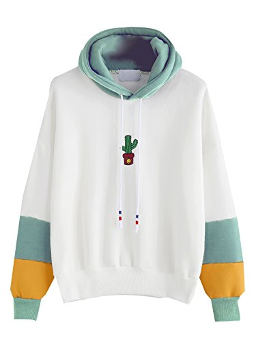 Floerns Women#039s Drop Shoulder Embroidery Long Sleeve Hooded Sweatshirt White L