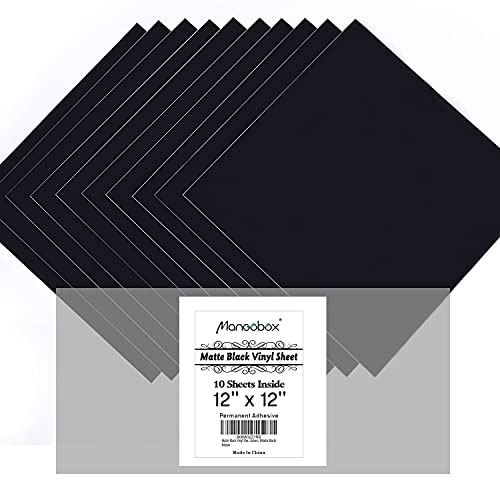 Matte Black Vinyl Sheets, 10 Flat 12''x12'' Permanent Adhesive Craft...