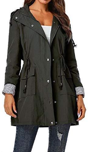 SELX Women Drawstring Trench-Coat Hoodie Casual Waterproof Mid Length Jacket Windbreaker Green L
