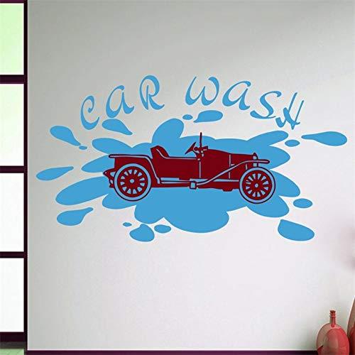 Ajcwhml Wandtattoo Autowaschanlage Beschilderung Pkw Auto Motor Design Autowaschdienst Vinyl-Aufkleber - 54X29CM