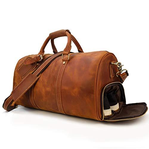 本革 ボストンバッグ メンズ レザー トラベルバッグ 靴入れ付き大容量 2泊 機内持ち込み ゴルフバッグ 底鋲付き PC収納 旅行バッグ 牛革 手提げバッグ ショルダーバッグ 耐久 出張鞄