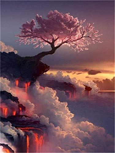 Neue Farbe nach Zahlen für Erwachsene Kinder - Pink Dream Cherry Tree 16 * 20 Zoll Leinen Leinwand - DIY digitale Malerei nach Zahlen Kits auf Leinwand-ohne Rahmen