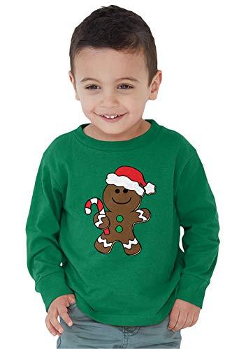 SpiritForged Apparel Christmas Gingerbread Man Toddler Long Sleeve Shirt, Kelly 3T