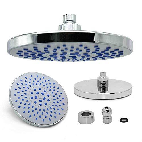 Nicoone Ducha de lluvia redonda, alcachofa de ducha de acero inoxidable de 20,32 cm con pulverizador giratorio para baño, potente ducha de alta presión para baño