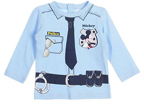 Tee shirt manches longues bébé garçon Mickey trompe-oeil Policier de 6 à 23mois (18mois, Bleu)