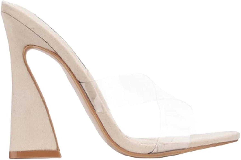 Women's Open Toe Slip on Chunky High Heel Sandals