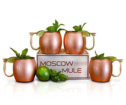 Craft Cocktails - Handmade Copper Moscow Mule Mugs with Gift Box (Set of 4, 16 Oz., Smooth)