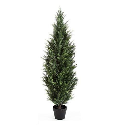 artplants.de Set 2 x Künstliche Zeder Leonardo, dunkelgrün, 90cm - Deko Koniferen Baum - Kunst Bäume