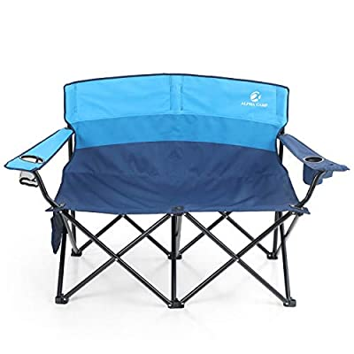 ALPHA CAMP Camping Folding Chair Heavy Duty LoveSeat Support 450 LBS Oversized Steel Frame Collapsible Double Chair with Cup Holder for Outdoor