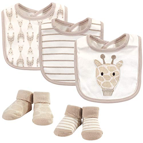 Hudson Baby Unisex Baby Cotton Bib and Sock Set Giraffe One Size