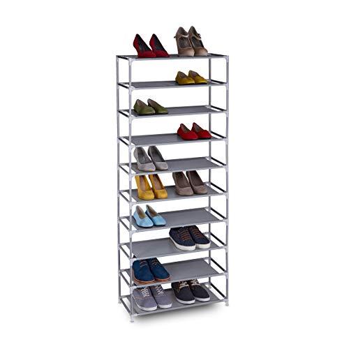 Relaxdays Zapatero de tela, 10 niveles, para 30 pares de zapatos, altura 150 x...