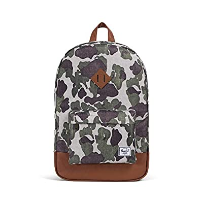 Herschel Heritage Backpack, Frog Camo/Tan Synthetic Leather, Classic 21.5L