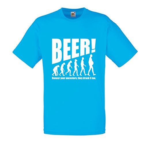 lepni.me Camisetas Hombre The Beervolution - Ideas Divertidas únicas sarcásticas del Regalo para los Amantes de la Cerveza, evolución de consumición (XX-Large Azul Blanco)