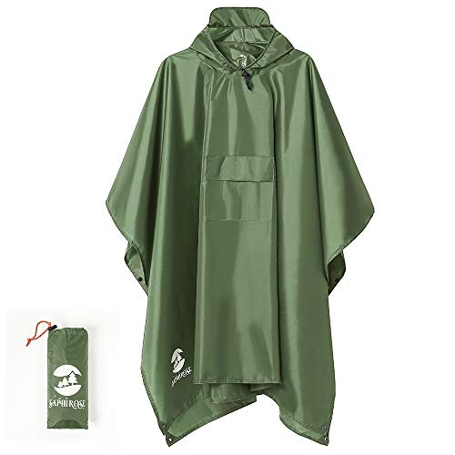 Multifunctional Mens Womens Rain Poncho Waterproof Outdoor Raincoat(Army Green)