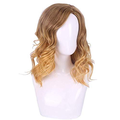 AGWa Femmes Platine Blonde Pleine Perruque Longue Lin Cheveux Perruque Dames Crépus Bouclés Perruques De Mode Ombre Cosplay Foncé Racine Moyen Frange Partie Cheveux Bouclés Haute Synthétique Lâche Va