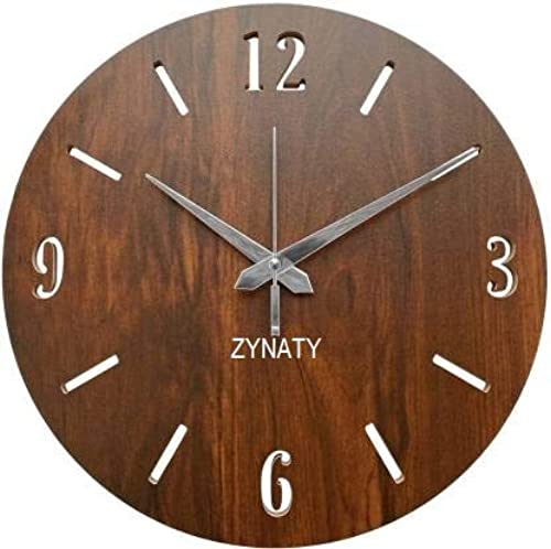 ZYNATY Wooden MDF Wall Clock Round Fancy Antique Design Silent Battery Operated Ticking Movement Clock No Frame 11 Inch for Home Kitchen Office You can give a as Gift Dark Brown Pack of 1