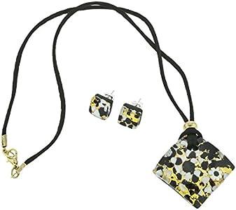 glassofvenice cristal de Murano veneciano reflejos joyería Set–oro negro